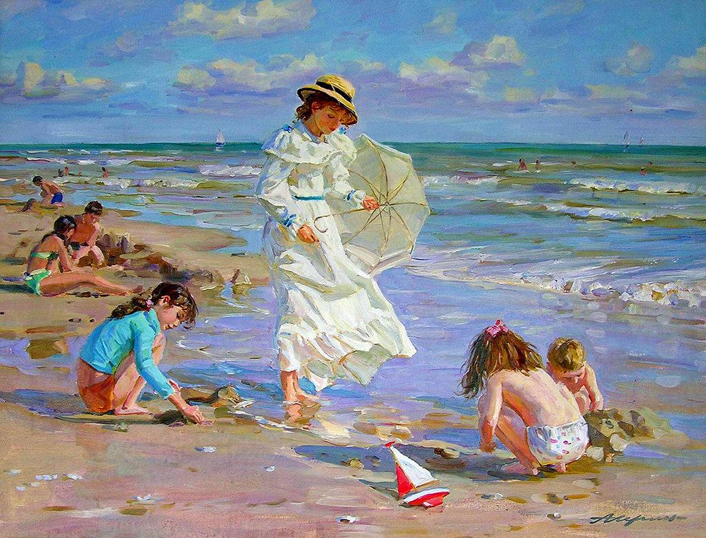 пляж картинка художника прозрачное боди только