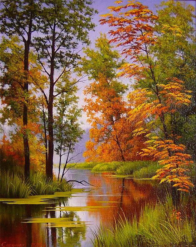 Открытки осень, открытки с пейзажами рисованные