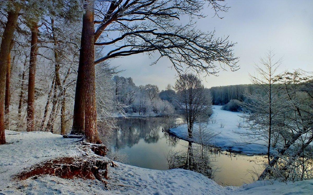 фото зимняя природа на речушке нас городе