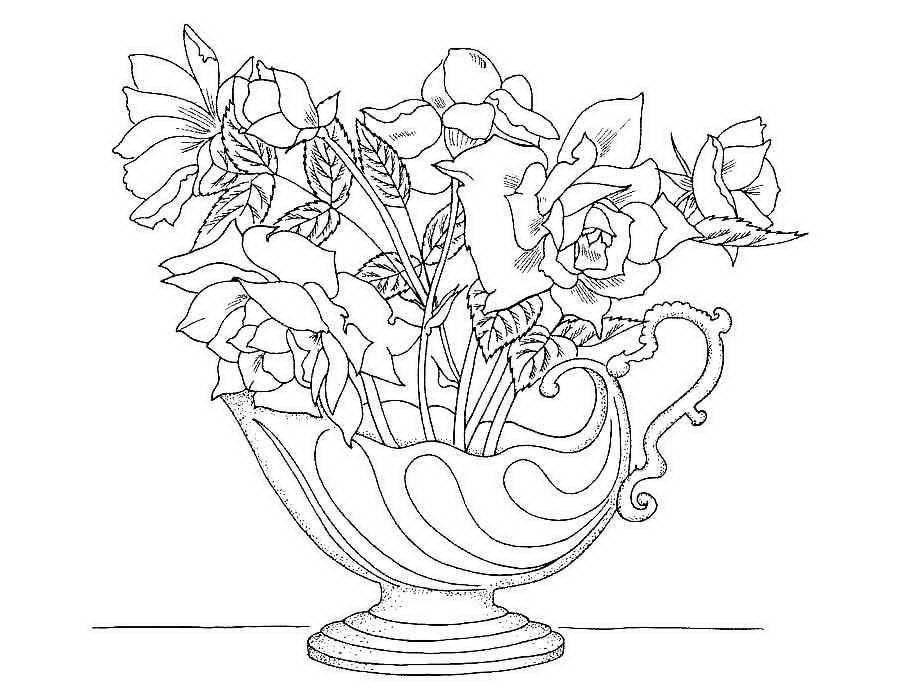 «Раскраска цветы в вазе » — карточка пользователя Ольга Р ...