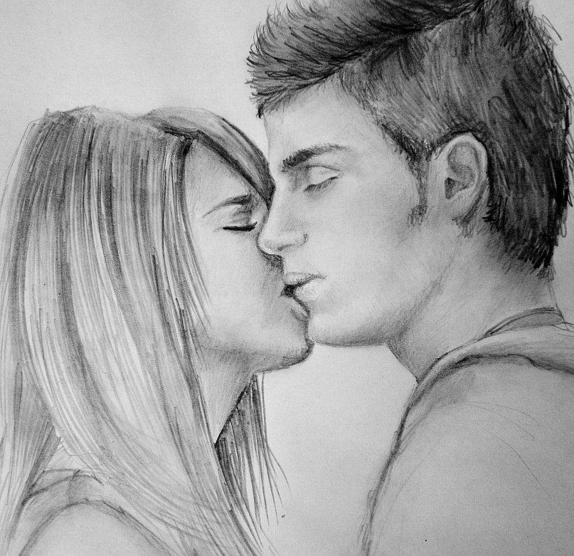 Фото парень с девушкой нарисованные карандашом