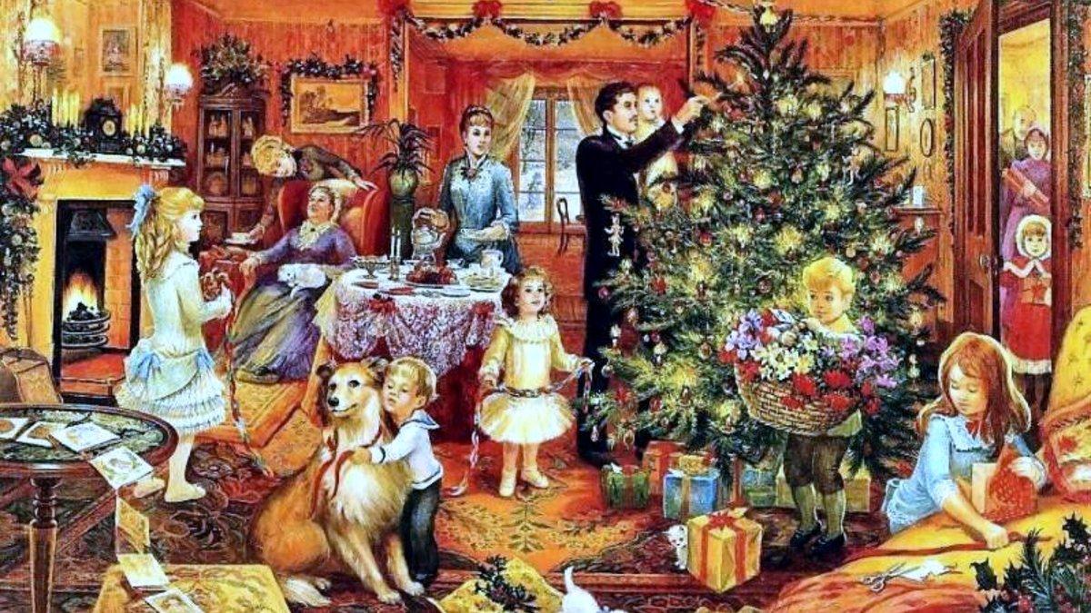 Новый год открытка семья, бумаги