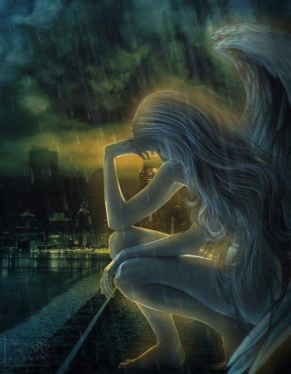 Картинка с одинокими ангелами