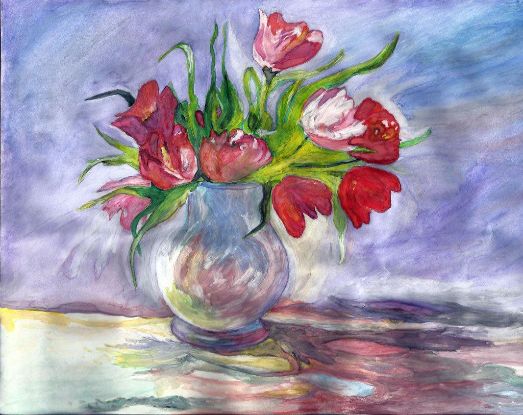 Тюльпаны в вазе картинки рисунок, праздник детства