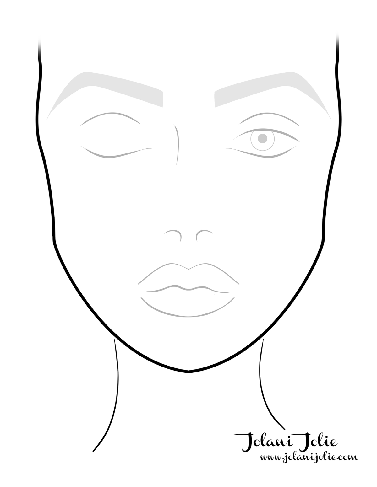 Blank Face Charts Makeup Chart Sketch Coloring Page Card From