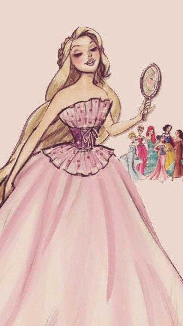 Картинки карандашом принцессы в платьях