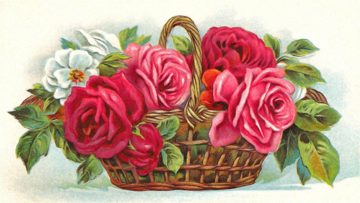 Советские открытки цветы в корзине личная жизнь