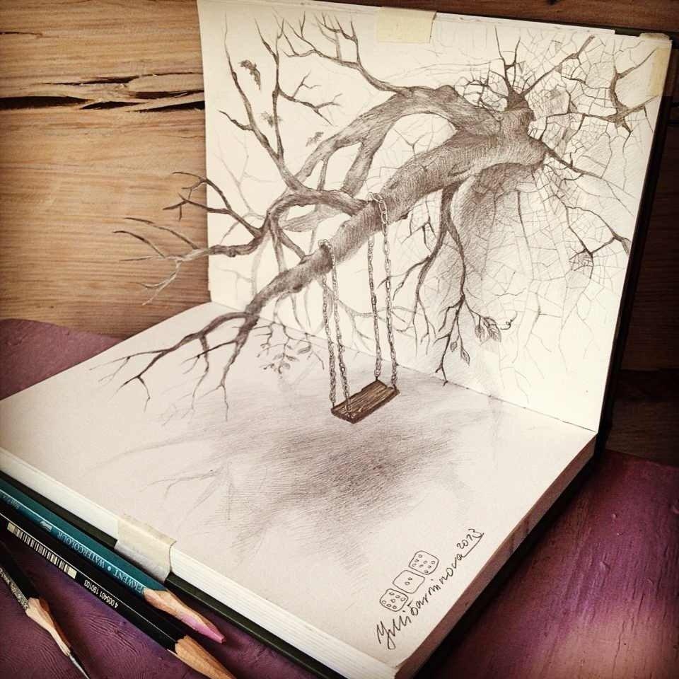 Прикольные рисунки карандашом 3д