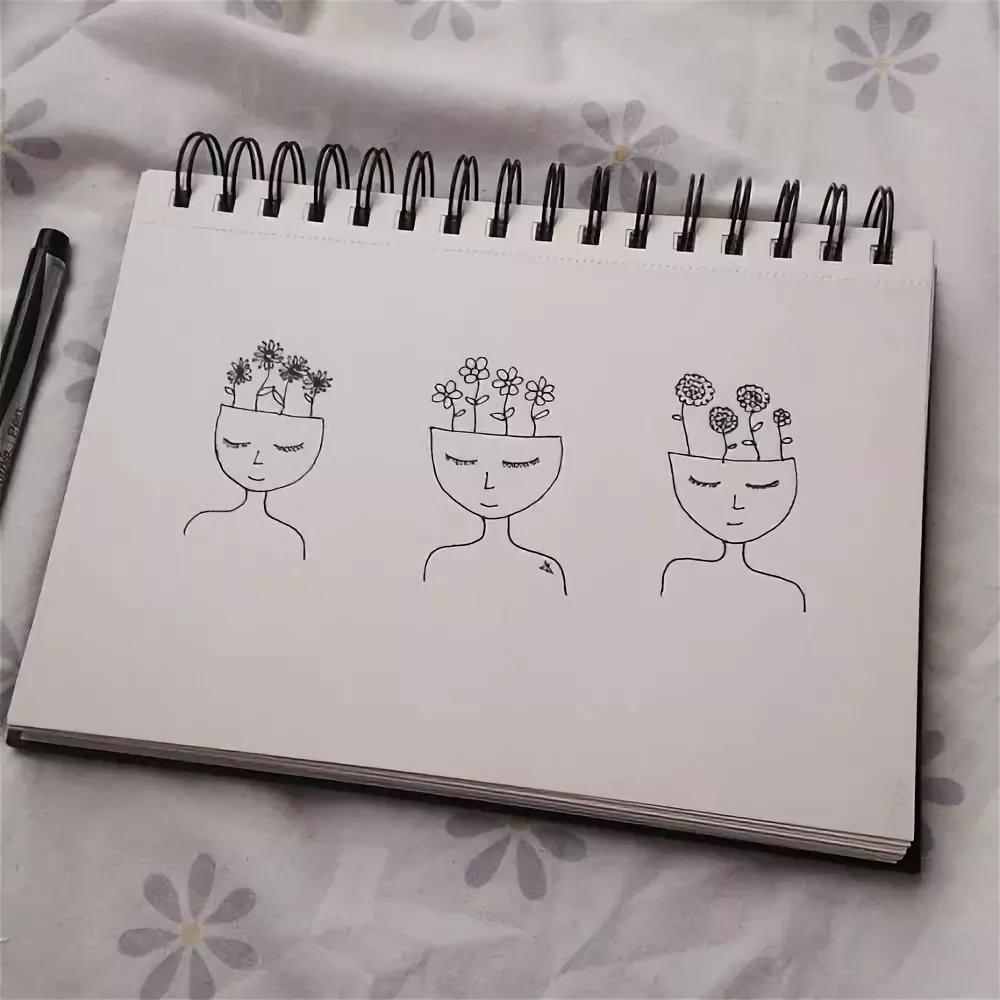 маленькие милые рисунки карандашом в скетчбуке выше