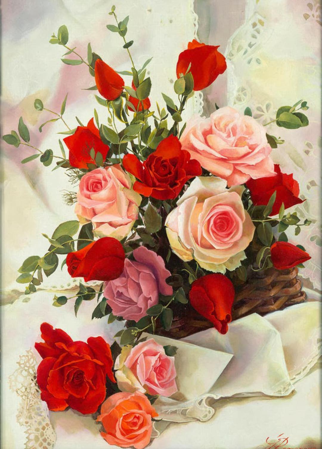 Открытка с букетом роз для любимой