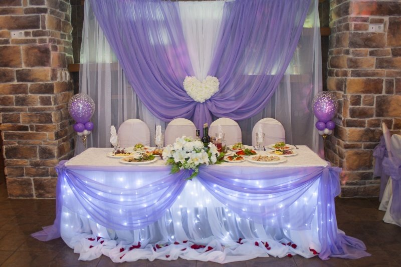 Свадебные украшения стола и зала фото