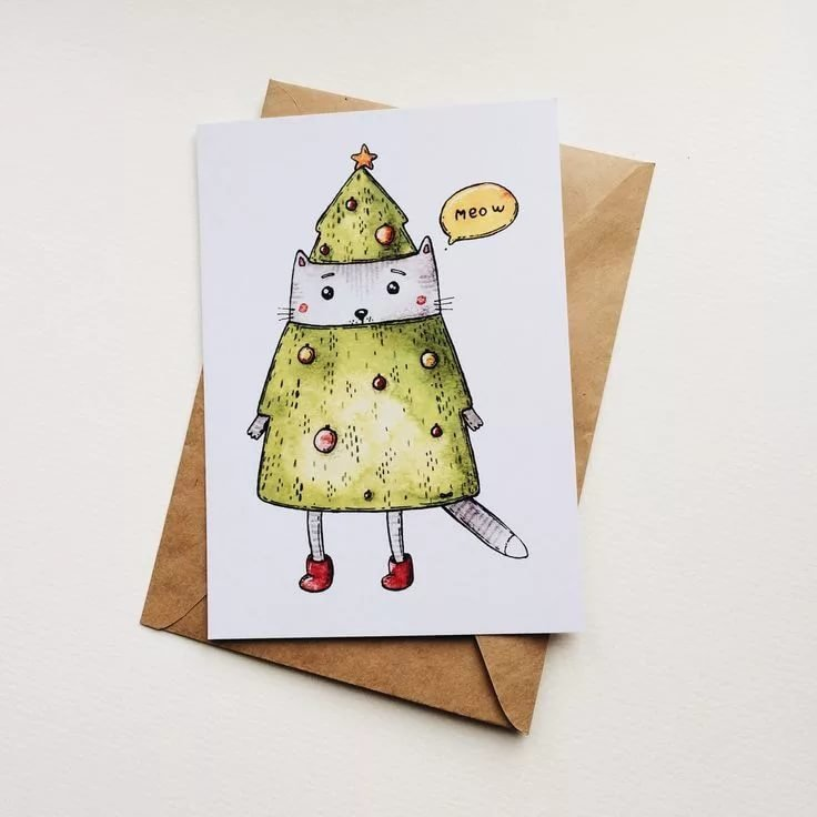 Новогодние открытки рисунки акварелью
