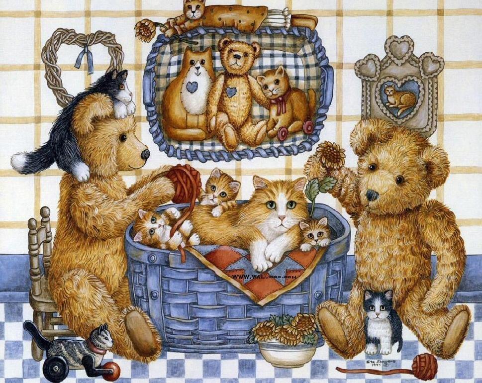 Открытки мишки и котики, рисунок карандашом