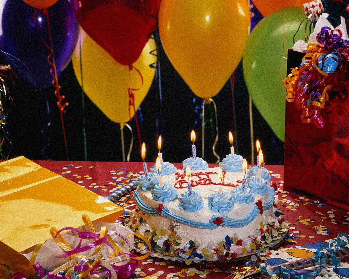 Картинки, картинка с тортом и шариками на день рождения