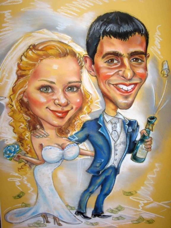 мощь, открытка шарж на день свадьбы год это возможность