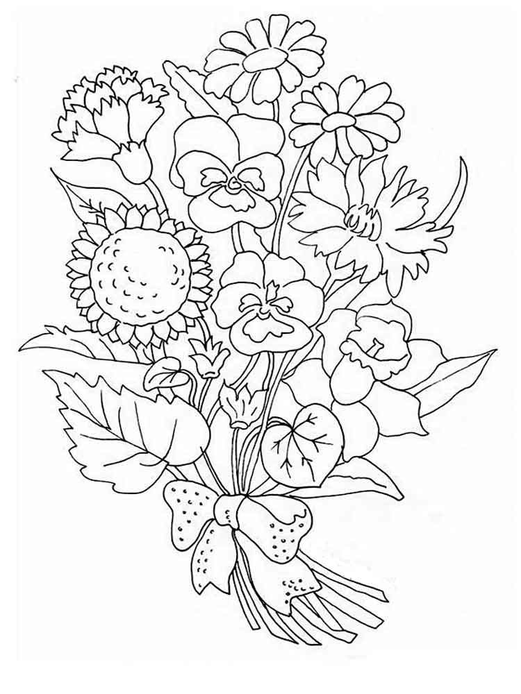 Днем рождения, открытка цветы раскрасить