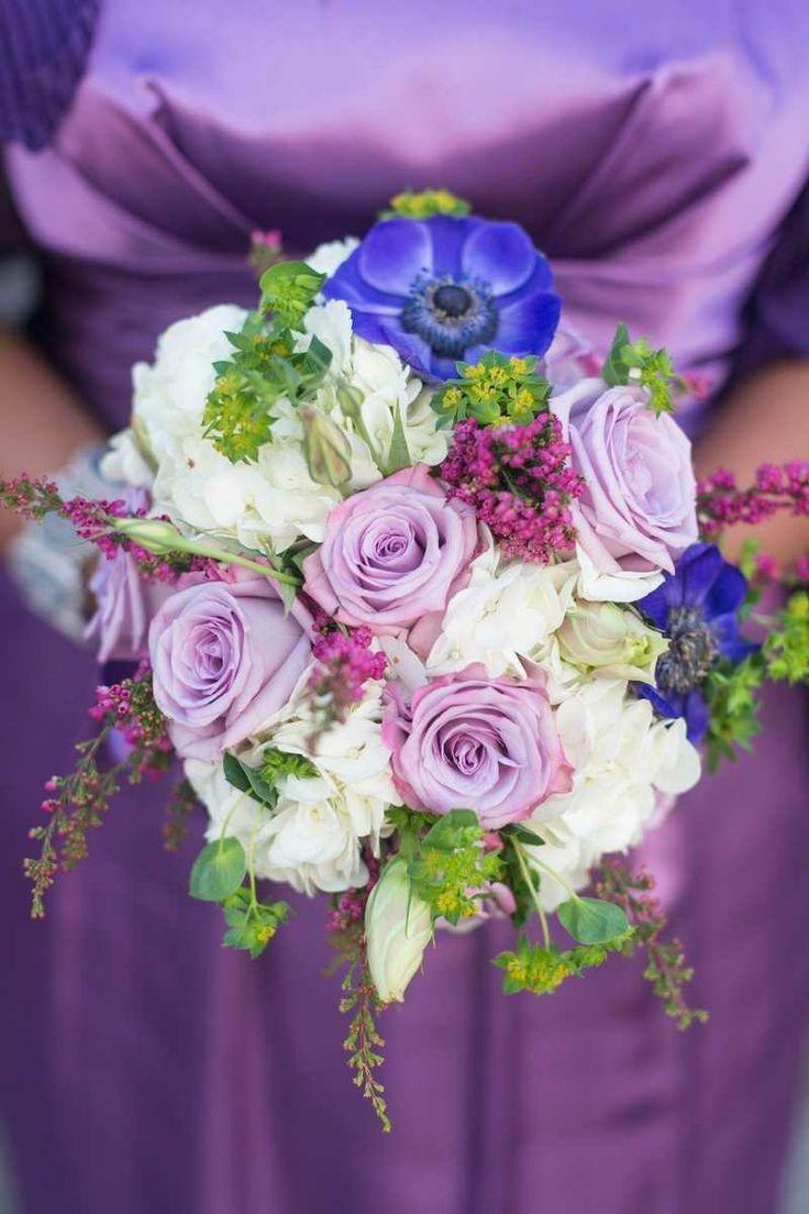 Букет невесты в сиреневом стиле, корзины цветами конфет
