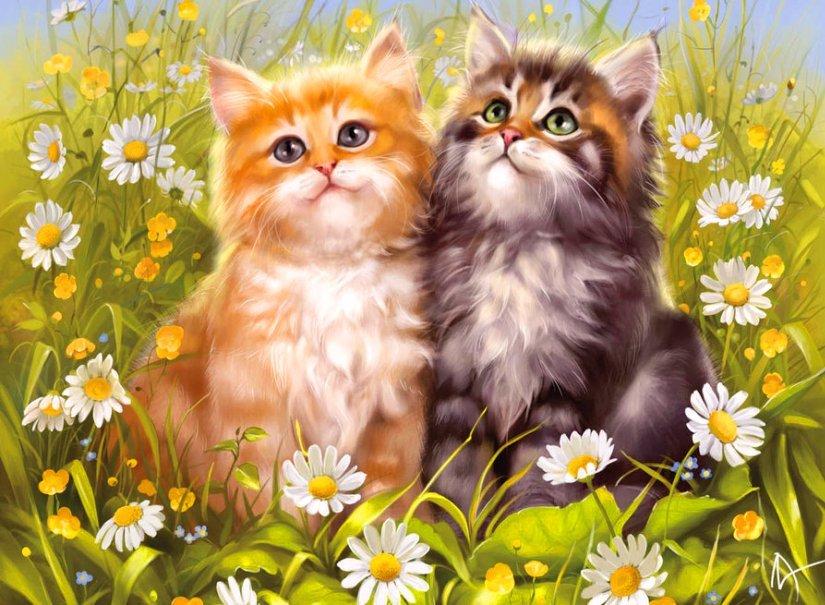 Открытка с двумя котятами, любимой девушки скучаю