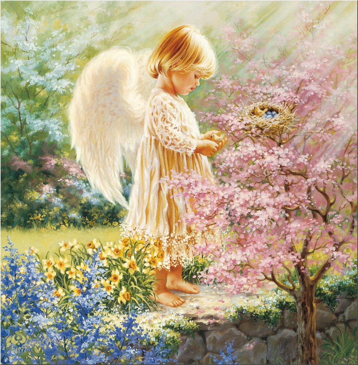 Открытка с днем рождения с изображением ангелов