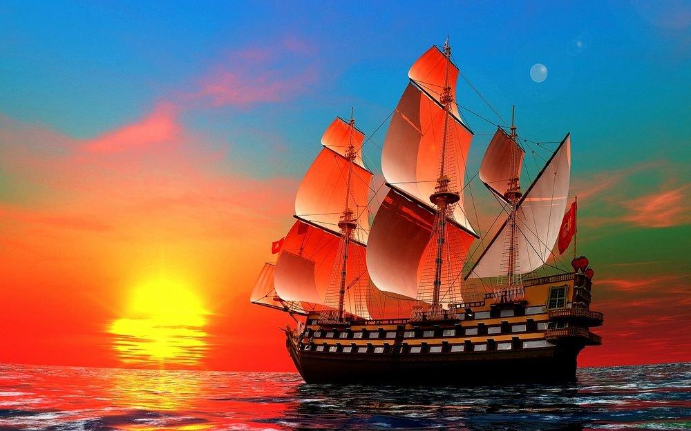 Открытки с кораблем и морем