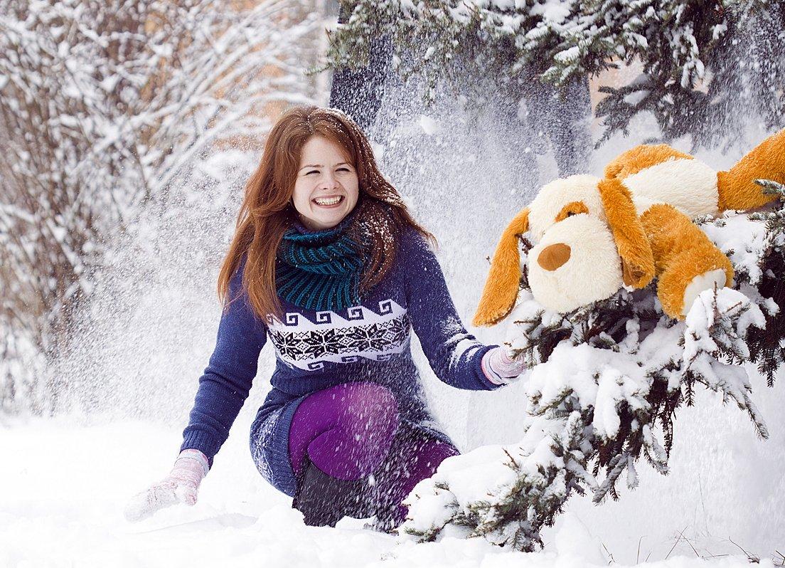 позы для зимней фотосессии со снегом удобна