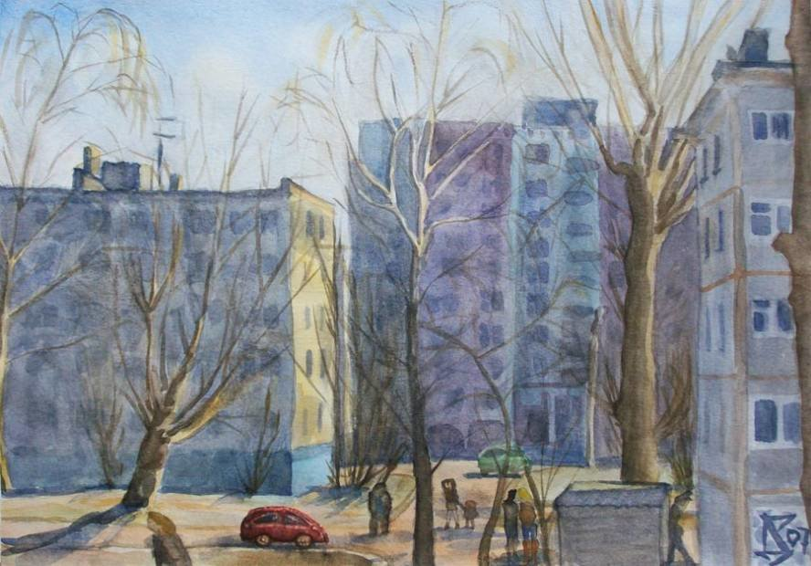 Весенний город рисунок карандашом