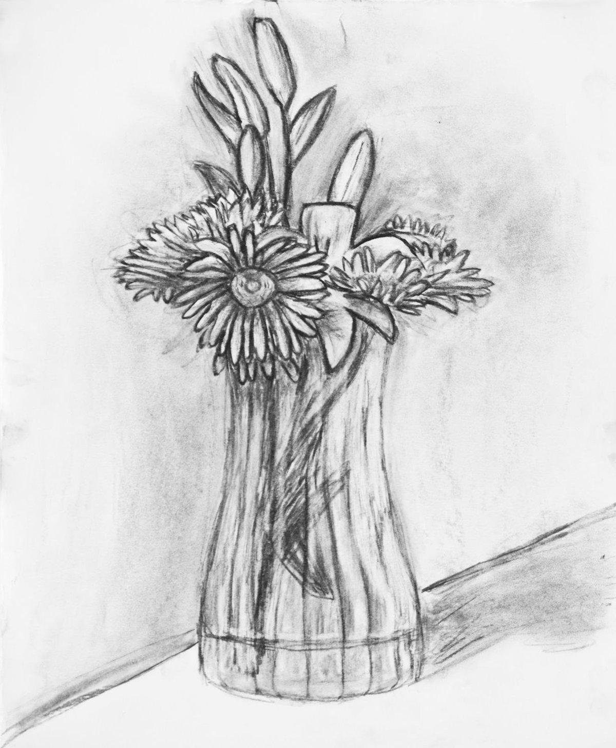 Картинки карандашом цветы в вазе, днем