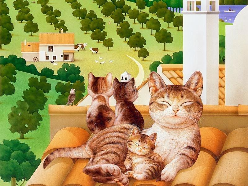 Смешные картинки с котами рисунки