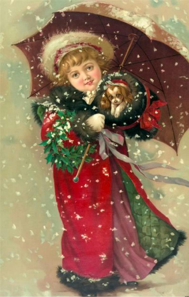 Новогодние открытки девочка, самому