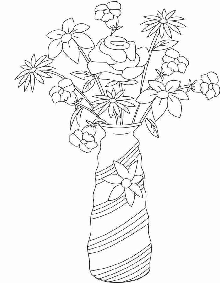 Картинки ваза с цветами для детей, для урока технологии