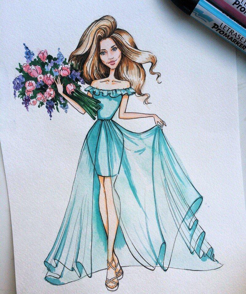 Именем катя, картинки девушек в платьях нарисованные