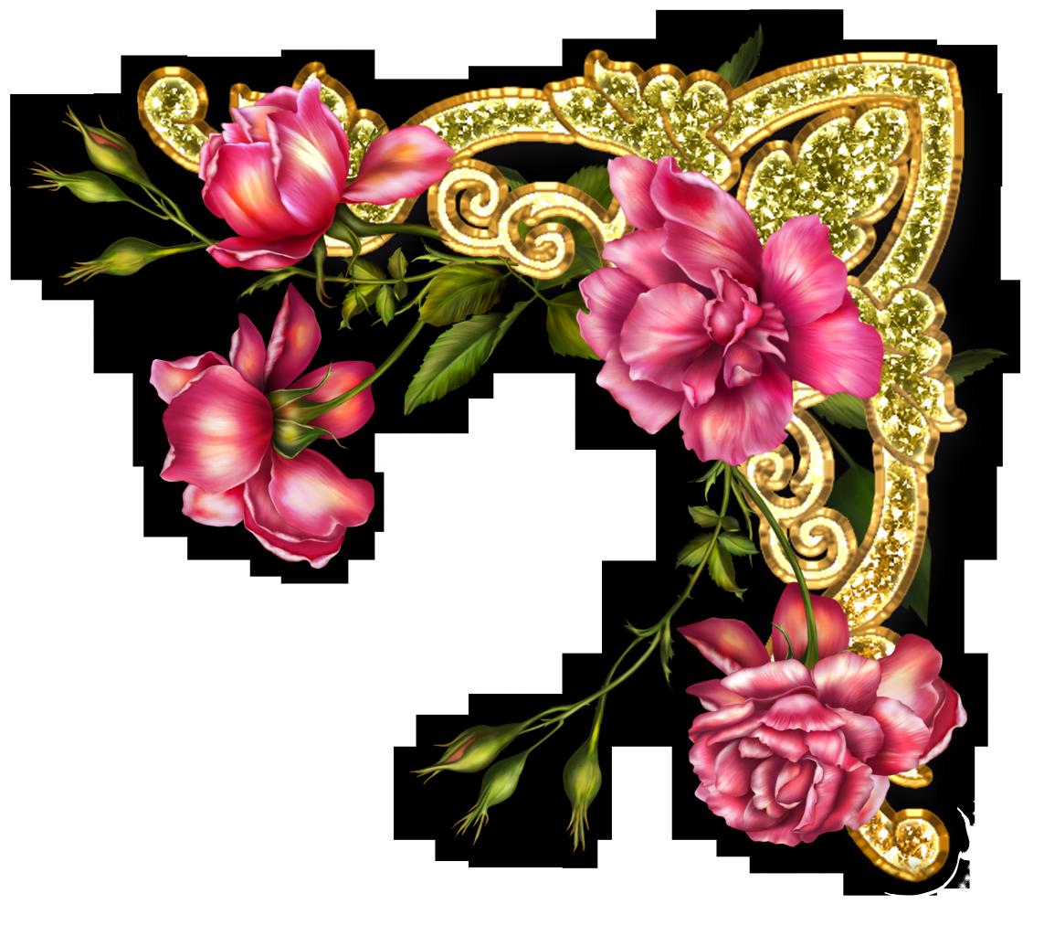 Для, уголок открытки с цветами