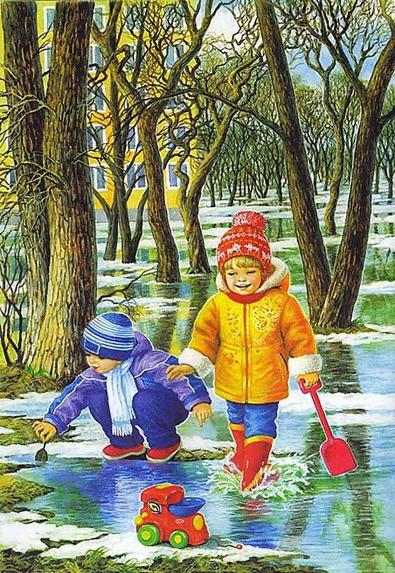 Открытка поздравлением, март в картинках для детей