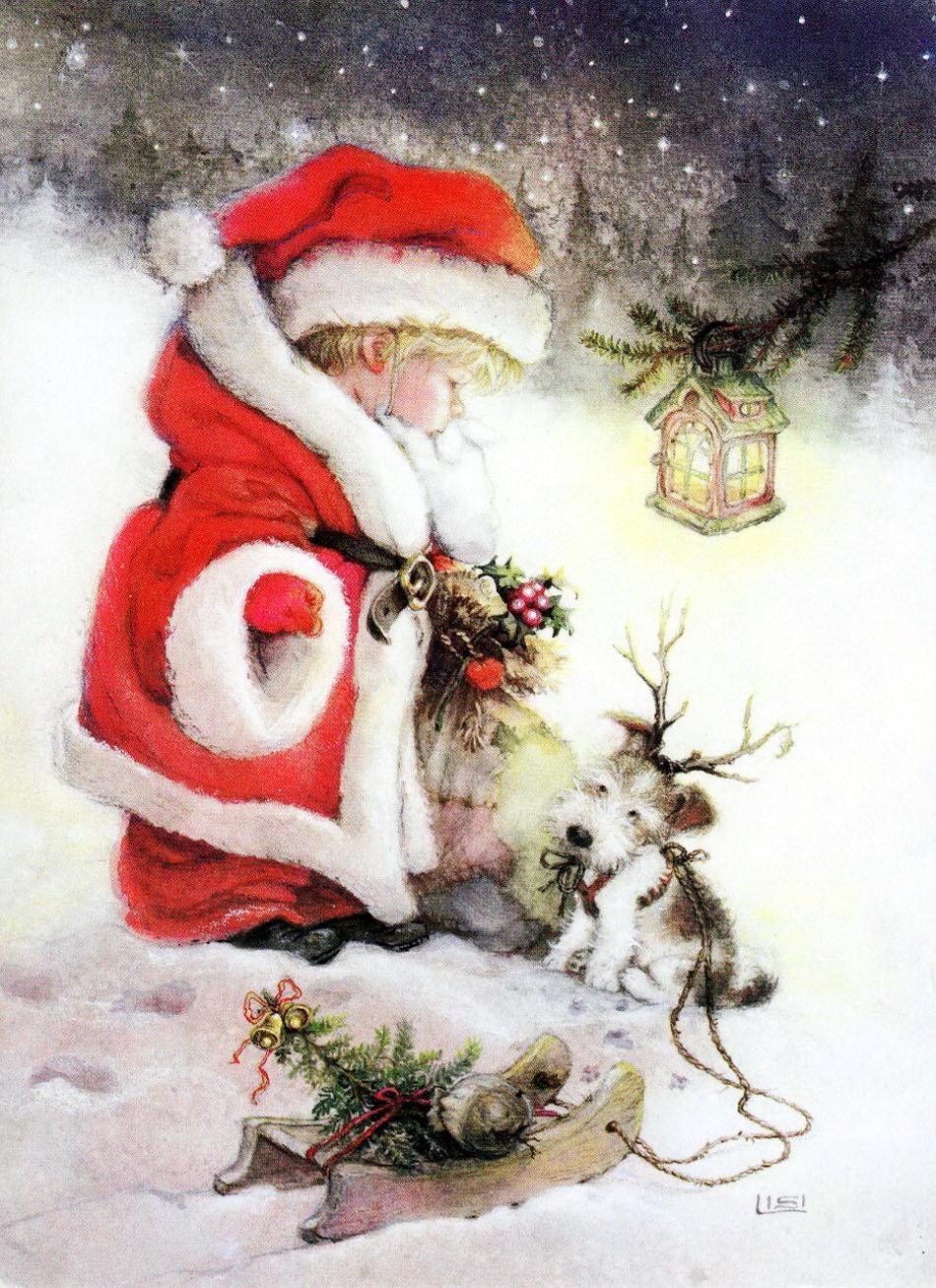 Иллюстрации рождественских открыток