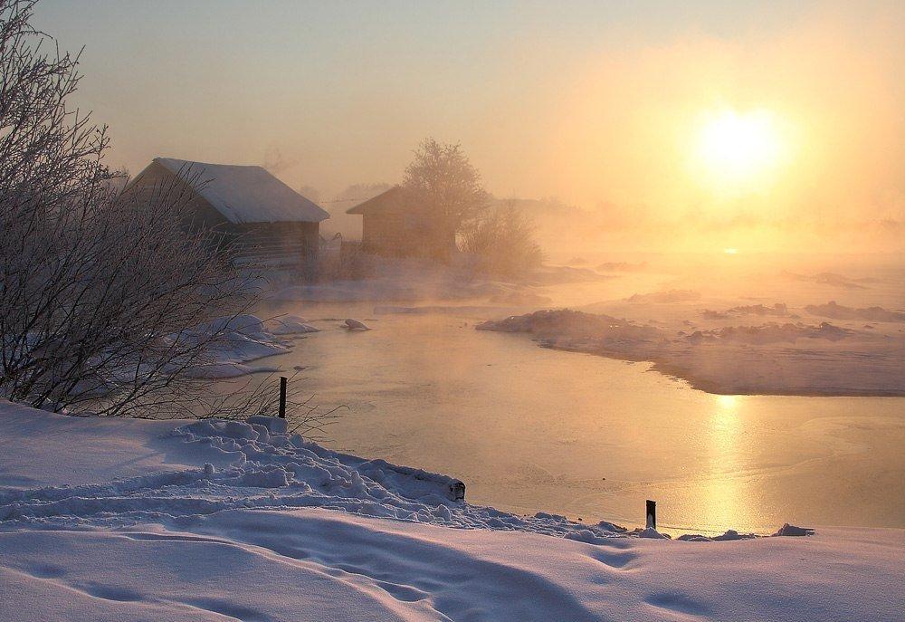 Годовщиной открытки, картинки утро зимой в деревне