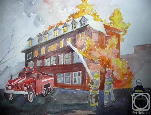 красная рисунок на тему пожарные тушат пожар популярная приятная
