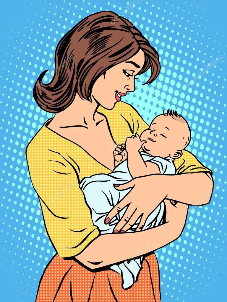 Картинка мама качает дочку