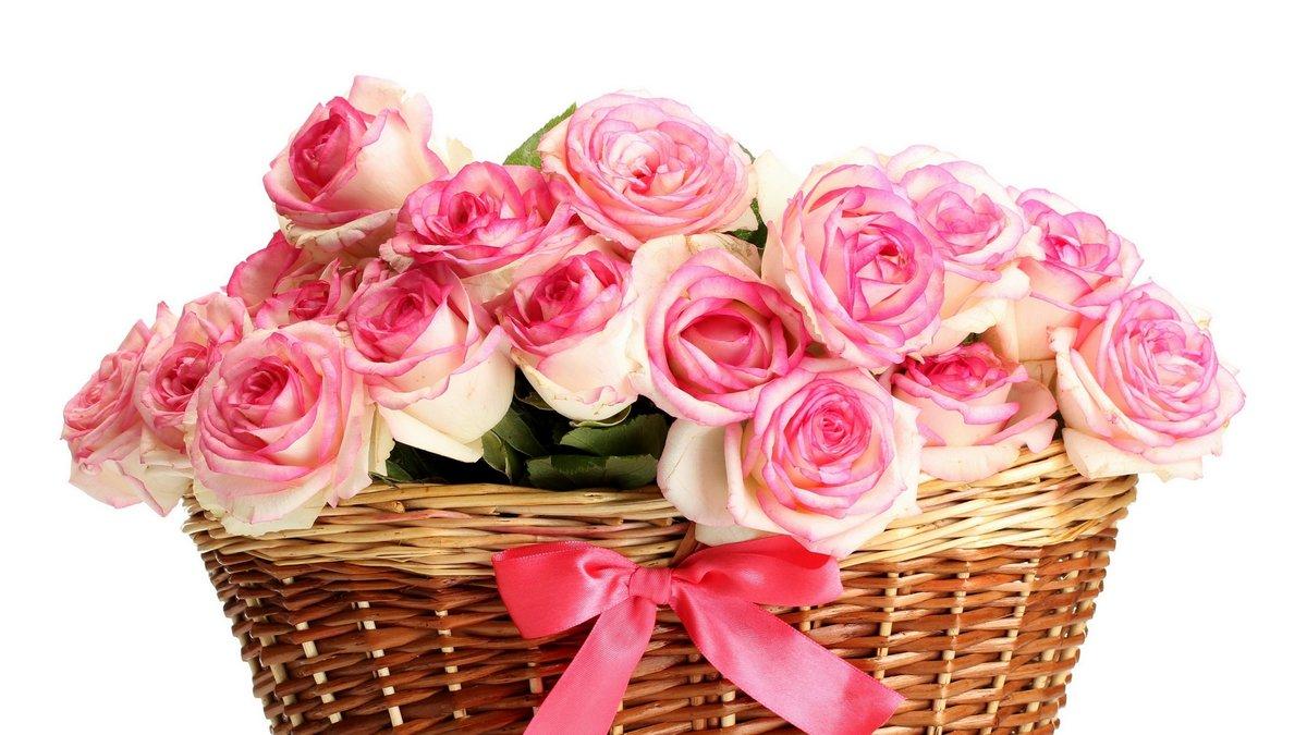 Открытка с букетом роз в корзине, астрахань открытка подруге
