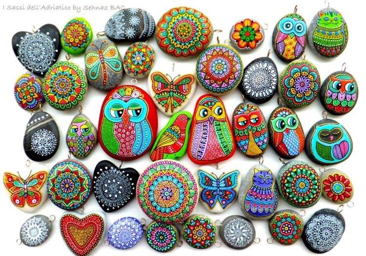 точечные картинки на камнях простые
