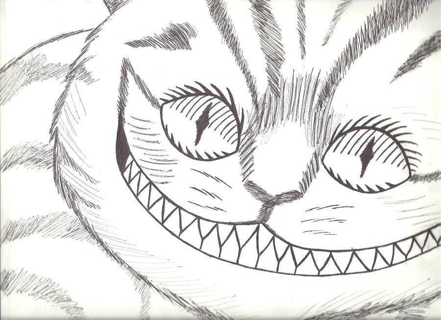 Картинка для срисовки чеширский кот