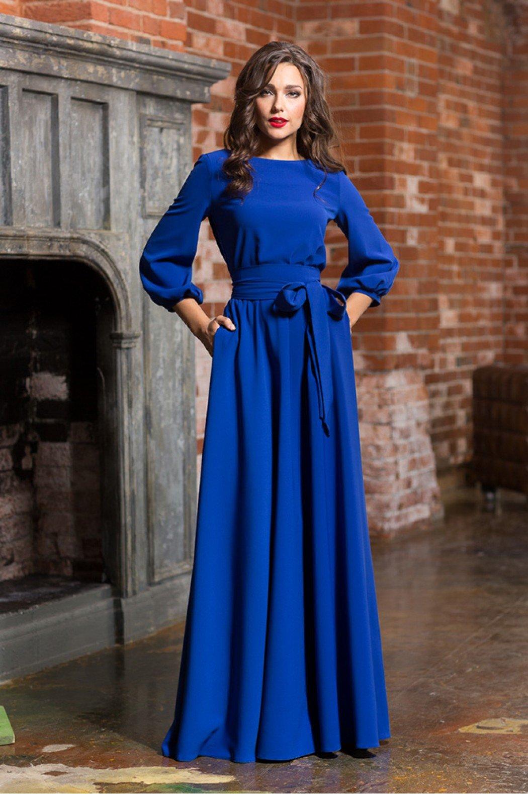 Синие платья в пол фото