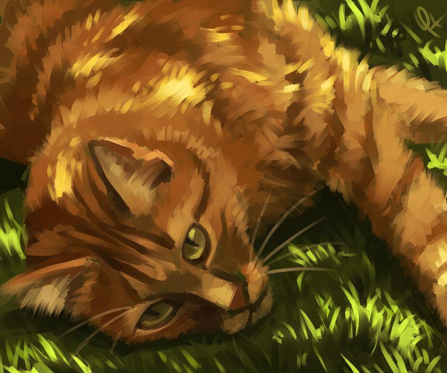 Рисунок рыжего кота с зелеными глазами