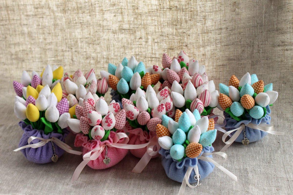 Цветов, букет тюльпанов из ткани своими руками