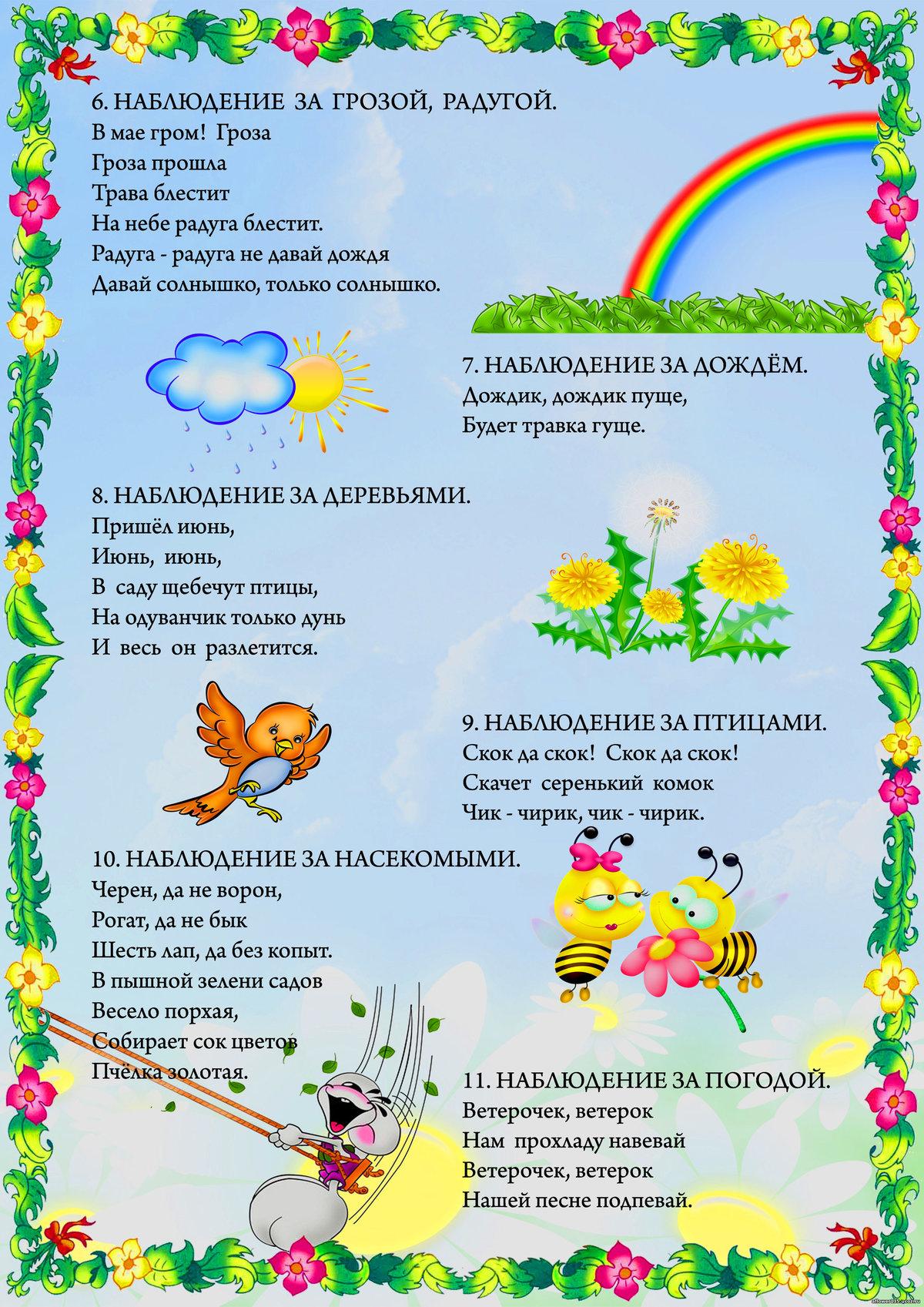 Картинки для стенда в детский сад лето