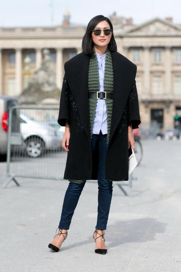 так стильные образы с черным пальто фото будет включать себя