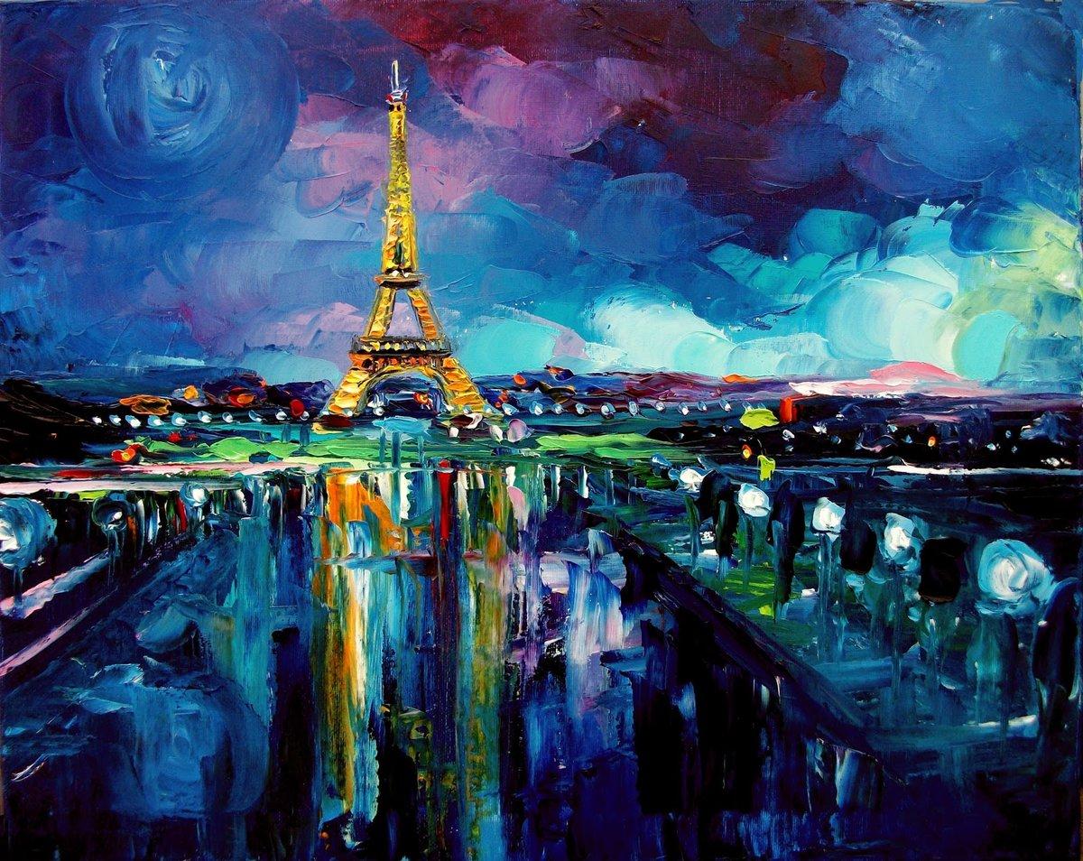 рисунки ночной город акварелью