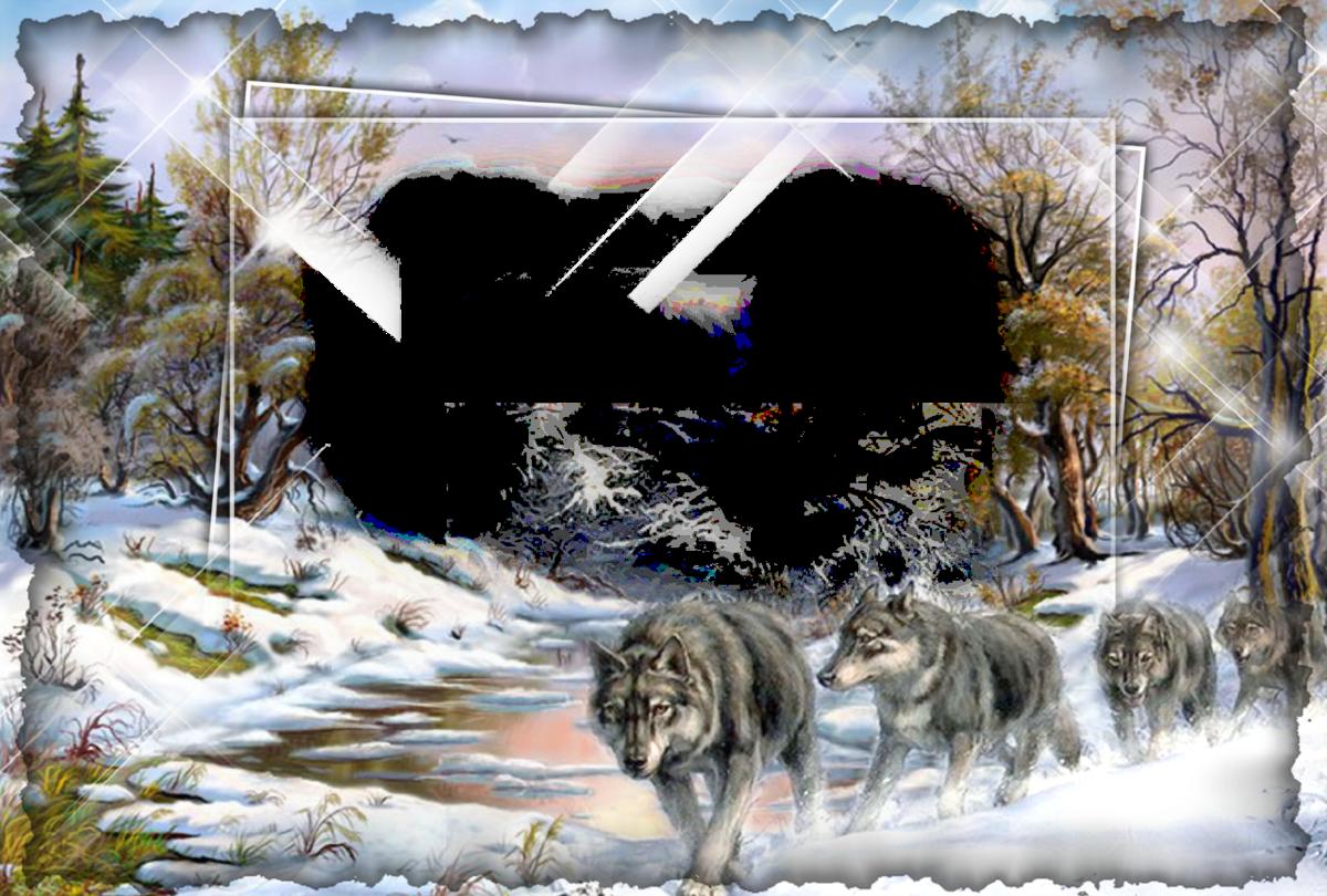Рамки и виньетки для оформления фотографий волки