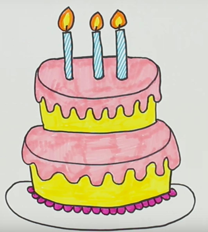 рисунки тортики с днем рождения один наш праздничный
