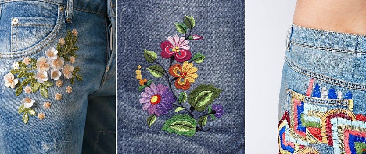 рисунок из ниток на джинсах что хотите