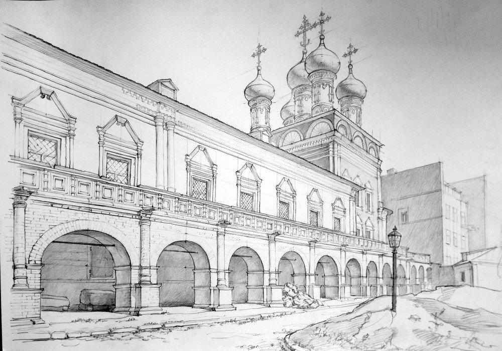Рисунки москвы простым карандашом